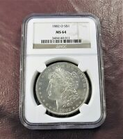 1882 O MORGAN DOLLAR MINT STATE 64 NGC  BETTER DATE WHITE PL QUALITY GEM  SHIP FREE