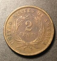 1865 2 CENT PIECE 2C TWO CENT US TYPE COIN FANCY 5 BOLD WE HIGH GRADE DETAILS