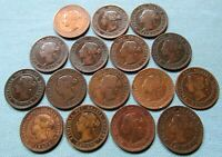 CLEARANCE LOT OF 16 CANADA QUEEN VICTORIA LARGE CENTS 1859