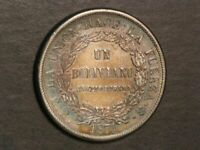 BOLIVIA 1871PTS ER 1 BOLIVIANO SILVER CROWN XF
