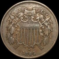 1864 TWO CENT PIECE NEARLY UNCIRCULATED PHILADELPIA 2C COPPE