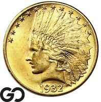 1932 GOLD EAGLE $10 GOLD INDIAN    LUSTROUS BU   BEAUTY FREE