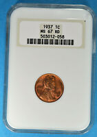 1937 LINCOLN WHEAT CENT NGC MINT STATE 67RD- LUSTROUS, DEEP RED GEM, OLD HOLDER