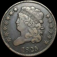 1825 CLASSIC HEAD HALF CENT ABOUT UNCIRCULATED PHILADELPHIA