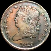 1829 CLASSIC HEAD HALF CENT NEARLY UNCIRCULATED PHILADELPHIA