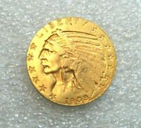 1908 INDIAN HEAD $5 DOLLAR HALF EAGLE GOLD COIN