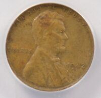 ANACS 1C 1942 WHEAT CENT STRUCK ON THICK BRASS PLANCHET 3.3