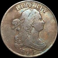 1804 DRAPED BUST HALF CENT LIGHTLY CIRCULATED PHILADELPHIA 1/2C COPPER COIN NR