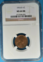1916-D LINCOLN WHEAT CENT NGC MINT STATE 64RB- TOUGHER DATE/MINT,  EXAMPLE