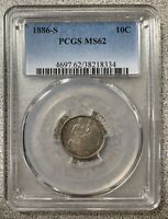 1886-S 10C PCGS MINT STATE 62
