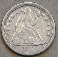 1841-O SMALL O OPEN BUD SEATED LIBERTY DIME DIPPED BETTER CIRCULATED GRADE COIN