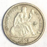 1875 SEATED DIME - FULL DETAIL- HIGH QUALITY SCANS B100
