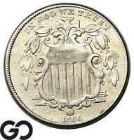1866 SHIELD NICKEL WITH RAYS CHOICE XF BETTER DATE