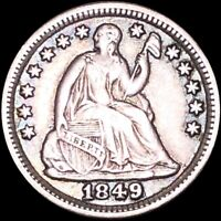 1849 SEATED HALF DOLLAR NEARLY UNCIRCULATED PHILADELPHIA 5C LIBERTY SILVER COIN