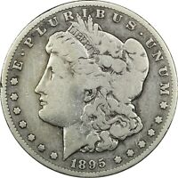 1895-S MORGAN SILVER DOLLAR $1,  GOOD VG. LIGHTLY CLEANED