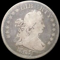 1805 DRAPED BUST QUARTER NICELY CIRCULATED PHILADELPHIA 25C
