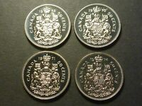 SMALL LOT OF 4 PROOF LIKE  PL  STRIKE NICKEL 50 CENT PIECES  1968 TO 1974