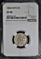 1866 5C SHIELD NICKEL WITH RAYS CERTIFIED BY NGC XF40  JA1