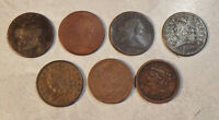 LOT OF 7 HALF CENTS  1803 1804 1804 1809 1834 1851  1854