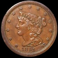 1851 BRAIDED HAIR HALF CENT NEARLY UNCIRCULATED PHILADELPHIA 1/2C COPPER NO RES