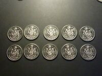 DEALER LOT: CANADA 1978 50 CENT BU ROUND JEWELS VARIETY LOT OF 10 COINS