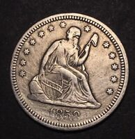 1858 SEATED LIBERTY SILVER QUARTER DOLLAR 25C NICE DETAILS T