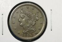 1853 BRAIDED HAIR HALF CENT, ALMOST UNCIRCULATED