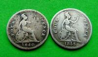 A  WORTHY  PAIR  VICTORIA  1840/55  FULL  SILVER  GROATS  4D  .LUCIDO_8  COIN