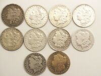 LOT OF 10-MORGAN SILVER DOLLARS 1878 TO 1900 ASSORTED MINT MARKS