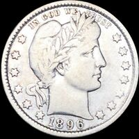 1896 O BARBER QUARTER ABOUT UNCIRCULATED HIGH END NEW ORLEAN