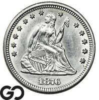 1876 SEATED LIBERTY QUARTER BLAST WHITE COLLECTOR COIN