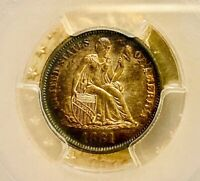 1881 SEATED LIBERTY DIME, GOLDEN RAINBOW CAMEO PROOF - PCGS PR 63 CAM  SUPERB