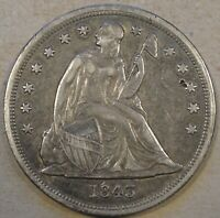 1843 SEATED LIBERTY DOLLAR ORIGINAL EXTRA FINE  SCRATCHES ABOVE EAGLE  SMALL PUNCH MARK