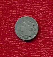 1865 3 CENT NICKEL LY CIRCULATED SHIPS FREE