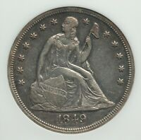 1849 SEATED LIBERTY DOLLAR, ANACS EXTRA FINE -45