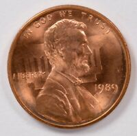 1C 1989 LINCOLN CENT VERY STRONG CLASHED DIES OBVERSE BU RED