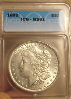 1892 MORGAN DOLLAR ICG MINT STATE 61 COMBINED SHIPPING ONLY $3.50 LOT 4392