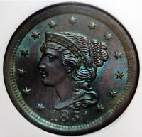 1851 BRAIDED HAIR LARGE CENT NGC MS65BN N 1 RARITY 3 GORGEOUS TONING