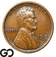 1914 D LINCOLN CENT WHEAT PENNY TOUGH THIS NICE CHOICE X   K