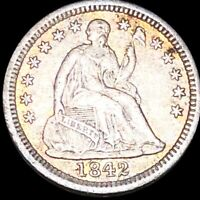 1842 O SEATED HALF DIME NEARLY UNCIRCULATED NEW ORLEANS 10C LIBERTY SILVER COIN