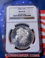 1883-O MORGAN SILVER DOLLAR NGC MINT STATE 64 PL PROOF LIKE - FROSTY WHITE DEEP MIRROR