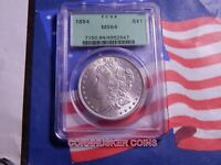 1884-P MORGAN SILVER DOLLAR $1 PCGS OLD GREEN SLAB MINT STATE 64  FROSTY WHITE GEM