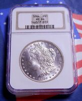 1884-P 1884 MORGAN SILVER DOLLAR $1 NGC MINT STATE 64 - FROSTY WHITE - FULL MINT LUSTER