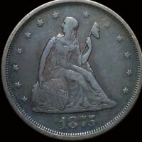 1875 S TWENTY CENT PIECE LIGHTLY CIRCULATED SAN FRANCISCO 20C LIBERTY SILVER NR