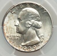 1939 S WASHINGTON QUARTER  25C   GEM BU PCGS MS 65