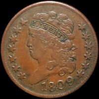 1809 CLASSIC HEAD HALF CENT NEARLY UNCIRCULATED PHILLY HIGH