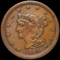 1854 BRAIDED HAIR HALF CENT CLOSELY UNCIRCULATED PHILADELPHI