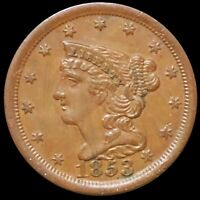 1853 BRAIDED HAIR HALF CENT APPEARS UNCIRCULATED PHILADELPHI