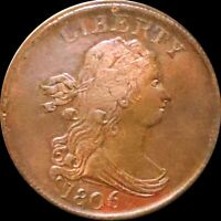 1806 DRAPED BUST HALF CENT NEARLY UNCIRCULATED PHILLY REDDIS