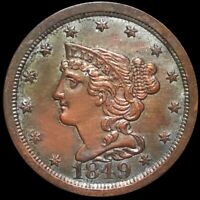 1849 BRAIDED HAIR HALF CENT APPEARS UNCIRCULATED PHILADELPHI